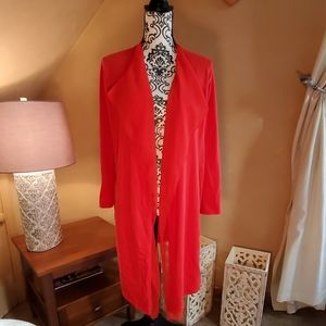 Anne Klein coral cardigan with shear collar detail